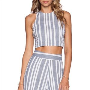 Revolve x Nikki Reed Stripes Crop Top